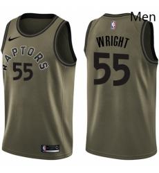 Mens Nike Toronto Raptors 55 Delon Wright Swingman Green Salute to Service NBA Jersey