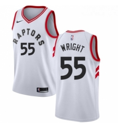 Mens Nike Toronto Raptors 55 Delon Wright Swingman White NBA Jersey Association Edition