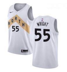 Mens Nike Toronto Raptors 55 Delon Wright Swingman White NBA Jersey City Edition