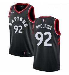 Mens Nike Toronto Raptors 92 Lucas Nogueira Swingman Black Alternate NBA Jersey Statement Edition