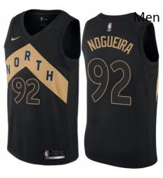 Mens Nike Toronto Raptors 92 Lucas Nogueira Swingman Black NBA Jersey City Edition