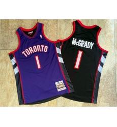 Raptors 1 Tracy McGrady Purple Black 1999 00 Hardwood Classics Jersey