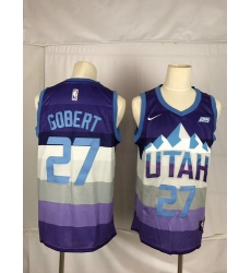 Jazz 27 Rudy Gobert Purple City Edition Nike Swingman Jersey