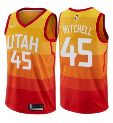 Jazz  45 Donovan Mitchell Orange Basketball Swingman City Edition 2019 20 Jersey