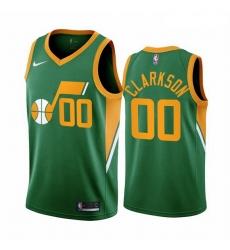 Men Utah Jazz 00 Jordan Clarkson Green NBA Swingman 2020 21 Earned Edition Jersey