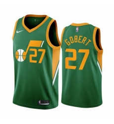 Men Utah Jazz 27 Rudy Gobert Green NBA Swingman 2020 21 Earned Edition Jersey