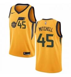 Mens Nike Utah Jazz 45 Donovan Mitchell Swingman Gold NBA Jersey Statement Edition