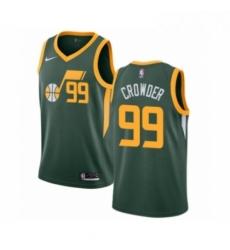 Mens Nike Utah Jazz 99 Jae Crowder Green Swingman Jersey Earned Edition