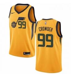 Mens Nike Utah Jazz 99 Jae Crowder Swingman Gold NBA Jersey Statement Edition