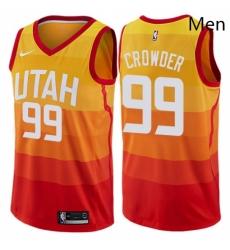 Mens Nike Utah Jazz 99 Jae Crowder Swingman Orange NBA Jersey City Edition