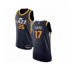 Mens Utah Jazz 17 Ed Davis Authentic Navy Blue Basketball Jersey Icon Edition