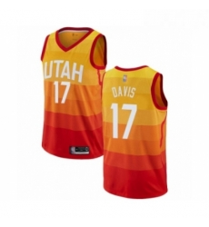 Mens Utah Jazz 17 Ed Davis Authentic Orange Basketball Jersey City Edition