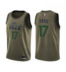 Mens Utah Jazz 17 Ed Davis Swingman Green Salute to Service Basketball Jersey