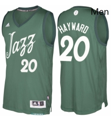Mens Utah Jazz 20 Gordon Hayward adidas Green 2016 2017 Christmas Day NBA Swingman Jersey