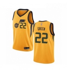 Mens Utah Jazz 22 Jeff Green Authentic Gold Basketball Jersey Statement Edition