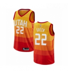 Mens Utah Jazz 22 Jeff Green Authentic Orange Basketball Jersey City Edition
