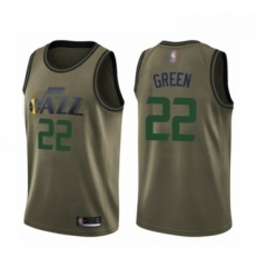 Mens Utah Jazz 22 Jeff Green Swingman Green Salute to Service Basketball Jersey