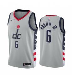Men Nike Washington Wizards 6 Troy Brown Jr Gray NBA Swingman 2020 21 City Edition Jersey