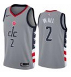 Men Nike Washington Wizards NBA John Wall City Grey Jersey