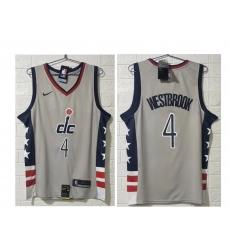 Men Washington Wizards 4 Russell Westbrook NEW Grey 2021 City Edition NBA Swingman Jersey