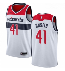 Mens Nike Washington Wizards 41 Wes Unseld Authentic White Home NBA Jersey Association Edition