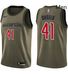 Mens Nike Washington Wizards 41 Wes Unseld Swingman Green Salute to Service NBA Jersey
