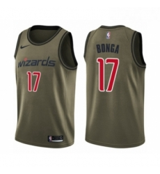 Mens Washington Wizards 17 Isaac Bonga Swingman Green Salute to Service Basketball Jersey