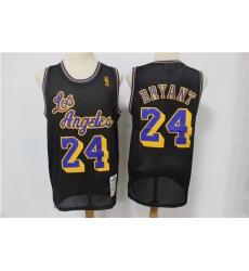Lakers 24 Kobe Bryant Black Hardwood Classics Mesh Jersey