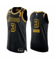 Los Angeles Lakers 2020 NBA Finals Champions Anthony Davis Black Mamba Authentic Jersey Social justice