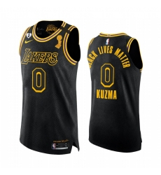 Los Angeles Lakers 2020 NBA Finals Champions Kyle Kuzma Black Mamba Authentic Jersey BLM