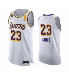 Los Angeles Lakers 2020 NBA Finals Champions LeBron James White Social justice Jersey Association