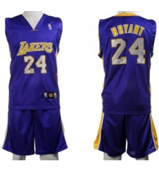 Los Angeles Lakers 24 Kobe Bryant Purple Jerseys&Shorts