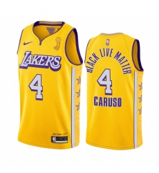 Los Angeles Lakers Alex Caruso 2020 NBA Finals Champions Jersey Gold Social justice