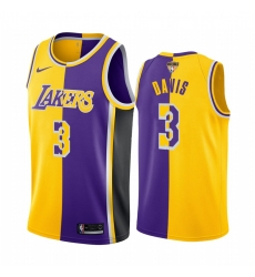 Los Angeles Lakers Anthony Davis 2020 NBA Finals Bound Gold Purple Jersey Split Special Edition