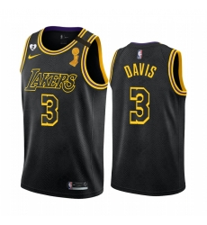 Los Angeles Lakers Anthony Davis 2020 NBA Finals Champions Jersey Black Mamba Inspired