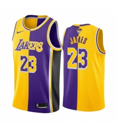 Los Angeles Lakers LeBron James 2020 NBA Finals Bound Gold Purple Jersey Split Special Edition