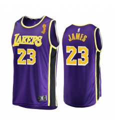 Los Angeles Lakers LeBron James 2020 NBA Finals Champions Jersey Purple Replica Statement