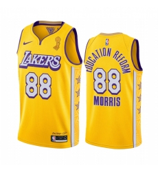 Los Angeles Lakers Markieff Morris 2020 NBA Finals Champions Jersey Gold Social justice BLM