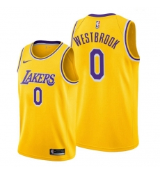 Men Lakers Russell Westbrook 2021 trade gold icon edition jersey