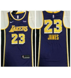 Men Los Angeles Lakers 23 LeBron James Purple With KB Patch NEW 2021 Nike Wish AU Stitched NBA Jersey