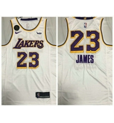 Men Los Angeles Lakers 23 LeBron James White With KB Patch NEW 2021 Nike Wish AU Stitched NBA Jersey