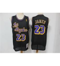 Men Los Angeles Lakers 23 Lebron James Black Mesh Hardwood Classics Jersey