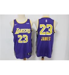 Men Los Angeles Lakers 23 Lebron James Purple Nike Swingman Jersey