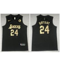 Men Los Angeles Lakers 24 Kobe Bryant Black Commemorative Swingman Jersey