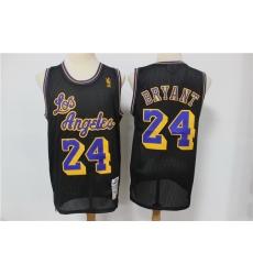 Men Los Angeles Lakers 24 Kobe Bryant Black Hardwood Classics Mesh Jersey
