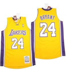 Men Los Angeles Lakers 24 Kobe Bryant Yellow 2008 09 Throwback Jerseys