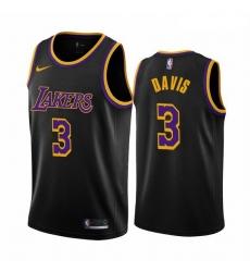 Men Los Angeles Lakers 3 Anthony Davis Black NBA Swingman 2020 21 Earned Edition Jersey