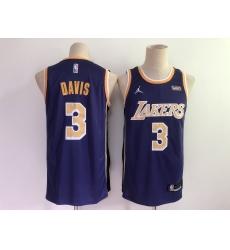 Men Los Angeles Lakers 3 Anthony Davis Purple 2021 Brand Jordan Swingman Stitched NBA Jersey With NEW Sponsor Logo