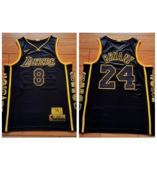 Men Los Angeles Lakers 8 & 24 Kobe Bryant Black Retirement Commemorative Swingman Jersey