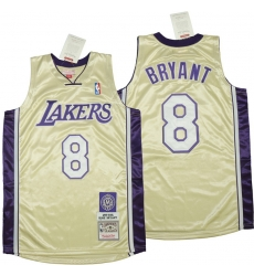 Men Los Angeles Lakers 8 Kobe Bryant Gold 1996 2016 The hall of fame Throwback Jerseys